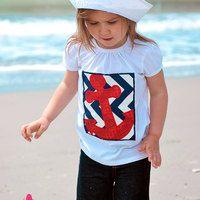 Anchors Away Short Sleeve Tee Newborn to XL Free Shipping - Thumbnail 4