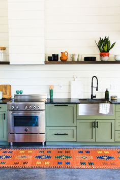 Using Vintage Runners to Warm Up Your Kitchen - Little Green Notebook
