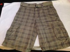 new with tags MEN'S ROUTE 66 CARGO plaid SHORTS W/ BELT waist SIZE 32 retail $27 #Route66 #Cargo
