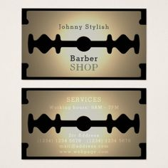 Shop Razor blade barber shop gold shine business card created by TwoFatCats. Barber Shop Interior, Barber Shop Decor, Hair Salon Interior, Barber Shop Vintage, Best Barber Shop, Hailie Barber, Barber Business Cards, Barber Logo, Barber Haircuts