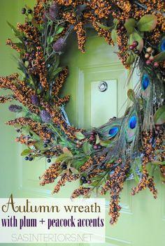 Autumn Wreath with Plum + Peacock Accents by @Jenna_Burger, sasinteriors.net