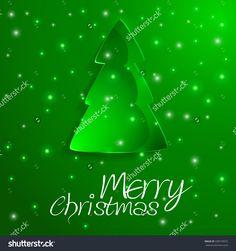 Christmas Card Template With Colored Christmas Tree  Christmas