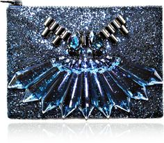 Mawi Blue Single Glitter Clutch with Tubes Perspex Spikes and Teardrop Crystals