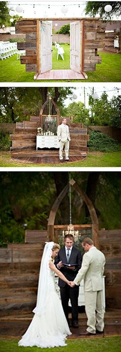 beautiful rustic wedding ceremony entrance and alter design by rust and lace.....i want this......with the hay and rose aisle....@Lynda Wood Wood Wood King #weddingceremony