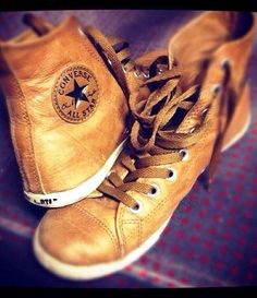 Brownish Leather Converse sneakers