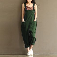 Womens Casual Loose Linen Pants Cotton Jumpsuit Strappy Harem Trousers Overalls | eBay