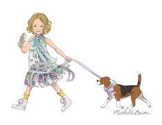 Children's Fashion Illustration Print with by MichelleBaronStudio