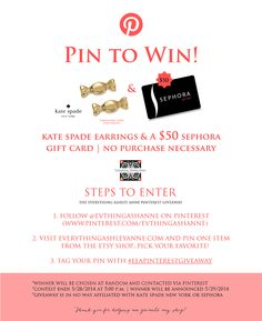 Kate Spade & Sephora Gift Card Giveaway - only takes one pin to win the Everything Ashley Anne Pinterest Giveaway! #eeapinterestgiveaway