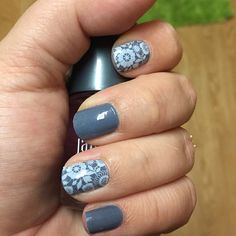 Blue Jeans layered with Chantilly.   Jamberry wraps | nail art | manicure | Spring Summer Catalog 2015