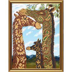 Familia de jirafas. Esquema para el bordado con abalorios. Precio 22,80€. Tamaño 26*36 cm.