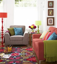 Bright colored living room