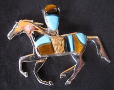 Cornrow inlay horse for the equestrian on your gift list. By Calvin Begay, Navajo