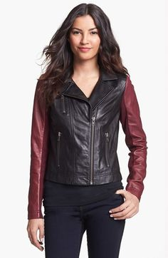 Halogen® Colorblock Moto Leather Jacket (Regular & Petite) available at #Nordstrom