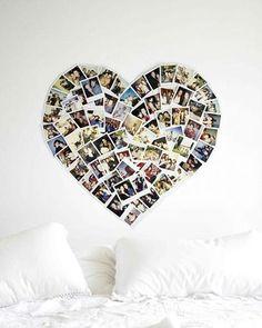 Vi esta ideia no site 79 Ideas (www.79ideas.org), indicado pela Simone Quintas, e achei bem diferente. Em cima da cama de casal, uma montagem de fotos em formato de coração. Bem romântico…