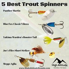Best Trout Fishing Lures: Top 5 Best Spinners After careful consideration, we have chosen our top 5 trout spinners for trout fishing. In no particular order, these include. Best Trout Lures, Trout Fishing Lures, Homemade Fishing Lures, Fishing Knots, Salmon Fishing, Carp Fishing, Catfish Fishing, Sport Fishing, Best Fishing