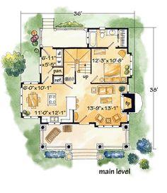 Cabin Craftsman Log Level One of Plan 43212