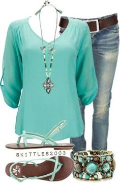 Casual comfort…love this shade of turquoise paired with denim!! – ZKKOO
