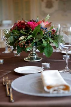 Autumn wedding centerpiece in wine shades
