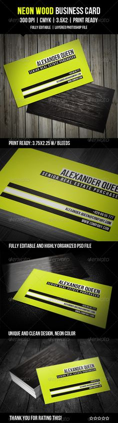 """Neon Wood Business Card  #GraphicRiver         Hi there!   Feel free to use my new clean and unique design on GraphicRiver!   Enjoy!   Details: - Fully Editable PSD File (well organized group of layers) - 3.5"""" x 2"""" (3.75"""" x 2.25"""" with bleeds) - Horizontal Card - 300 DPI - CMYK Colors - Print Ready File   Free Fonts: Please find details in the """"Quick Guide"""" included in the Neon Wood Business Card Pack!     Created: 4August12 GraphicsFilesIncluded: PhotoshopPSD #JPGImage Layered: Yes…"""