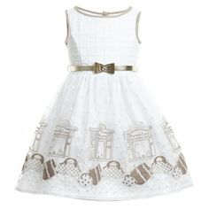 Monnalisa Chic - White & Gold Embroidered 'Shop' Dress | Childrensalon