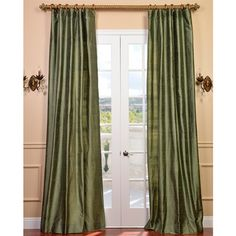 @Overstock   These Sumptuous 84 Inch Curtain Panel Is Made Of Textured Green  Silk