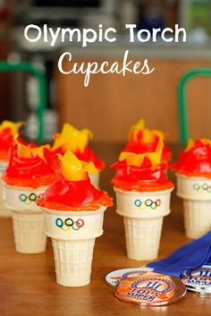 Olympic Torch Cupcakes -- if you've ever made ice cream cone cupcakes, these adorable Olympic torch cupcakes will be a cinch to make. Go USA!!!  | via @Tara Kuczykowski on unsophisticook.com