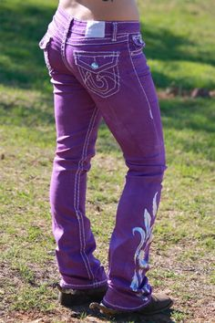 """Dynasty Equine - Purple """"Feather"""" Jeans, $65.00 (http://stores.ranchdressn.com/purple-feather-jeans/)"""