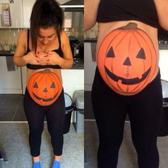 Pumpkin belly - pregnant belly - pregnant Halloween ideas - Halloween makeup - Halloween pregnant pumpkin painting - ChloeCatherineMakeUp