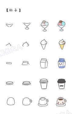 Step by step food doodles