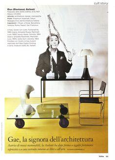 "Gae Aulenti with her design symbols as Ruspa and Pipistrello (seen on ""Home"" editorial)"