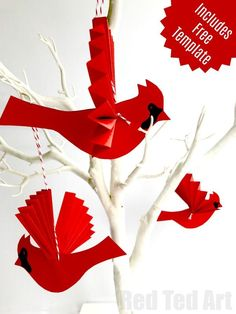 New Diy Paper Fans Free Printable Ideas Bird Paper Craft, Paper Birds, Paper Crafts For Kids, Easy Crafts For Kids, Origami, Paper Christmas Ornaments, Christmas Crafts, Christmas Trees, Bird Crafts Preschool