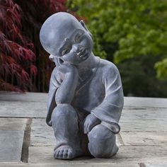 Alfresco Home Thinking Buddha Garden Statue - 61-7206