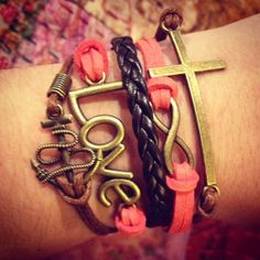 One of my favorites!  Bright Pink Love Infinity Anchor Cross Charm by ForTheWristAndSoul, $10.99