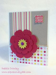 """A happy card for a """"Happy Day. Just had lots of fun with this beautiful patterned paper and """"grand"""" flower. Great colors on this card. Hope you enjoy...  For the details, visit www.expressivelydeb.com"""