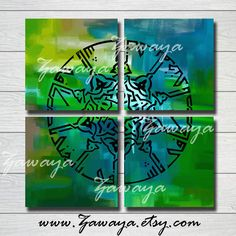 blue turquoise green artwork painting canvas Art Home by Zawaya, $75.00