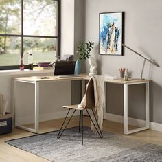 Symple Stuff Swartwood L-Shape Executive Desk Computer Stand For Desk, Contemporary Office Desk, L Shaped Executive Desk, Black Shelves, Oak Desk, L Shaped Desk, Metal Furniture, Room Decor, Polished Wood