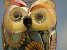 Selah lampwork owl bead sra by DeniseAnnette on Etsy, $30.00