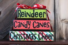 Christmas Stacker Blocks - Reindeer, Candy Canes, Christmas Cheer - Fabulous Christmas Home Decor. $17.00, via Etsy.