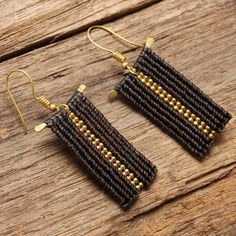 Funky waxed cotton tribal earrings with brass by cafeandshiraz