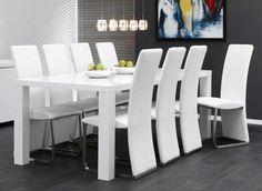 Chaise de salle à manger design en PU BARCARES - coloris blanc, gris ou noir, Chaise salle à manger