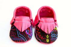 Pink Leather and Embroidered Suede Baby Moccasins