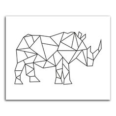 Geometric rhinoceros instant download digital by PrintitFrameit, $5.00