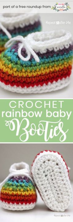Get the free crochet pattern for this rainbow baby booties from Repeat Crafter Me featured in my gender neutral rainbow baby blanket FREE pattern roundup!