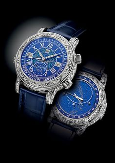 """La montre """"Sky Moon Tourbillon"""" référence 6002 de Patek Philippe http://www.vogue.fr/joaillerie/le-bijou-du-jour/diaporama/la-montre-sky-moon-tourbillon-reference-6002-de-patek-philippe/14194#!2"""