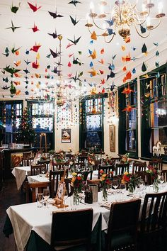 We could totally do this with origami cones in the dining room - Colourful Origami Winter Peasant Pub Wedding Clerkenwell London Bride, London Wedding, Hanging Origami, Origami Wedding Invitations, Wedding Stationery, Wedding Colors, Wedding Flowers, Cute Origami, Oragami