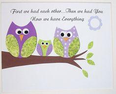First we had each other-Cute Owls-Children's Room Art Decor Baby Girl Nursery Decor by vtdesigns, $14.00