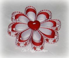 Valentine Flower Hair Clip ~ Sparkly Hearts Flower Bow ~ Red & White Bow ~ Valentine Hair Bow ~ Valentine Heart Bow ~ Baby Toddler Bow (no pattern)