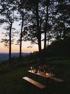 A setup for simple outdoor dinners at the cabin, looking out at the valley below. Diy Cabin, Cabin Ideas, Shell House, Wooden Patios, Magical Home, Patio Bench, Autumn Lights, House Landscape, Building Exterior