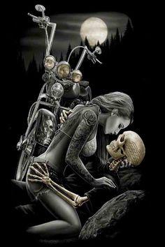 David Gonzales Art DGA Ride or Die Lovers Tattoo Punk Chicano Queen Blanket Motorcycle Art, Bike Art, Motorcycle Humor, Art Harley Davidson, Arte Lowrider, David Gonzalez, Darkside, Fantasy Anime, Totenkopf Tattoos