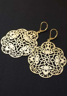 Big Gold Filigree Fashion Earrings from EarringsNation